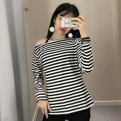 Tiny Times - Striped Boat Neck Long-Sleeve T-Shirt