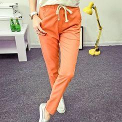 Heybabe - 純色抽繩褲