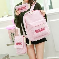 Tasche - Set : Velvet Letter Backpack + Shoulder Bag + Pouch