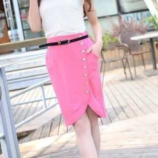 9mg - Buttoned Pencil Skirt