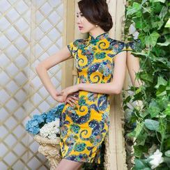 Miss Four Qipao - Cap-Sleeve Contrast Trim Cheongsam