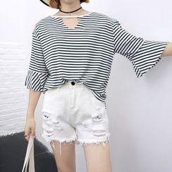 Whitney's Shop - Cutout Stripe Ruffle Knit Top