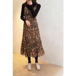 CHERRYKOKO - Spaghetti-Strap Patterned Chiffon Long Dress