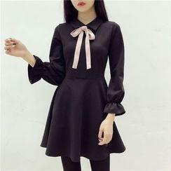 Octavia - Long-Sleeve Bow A-line Dress