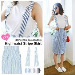 Luz Llena - Striped Suspender Skirt