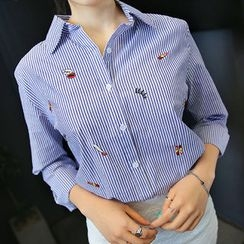 Envy Look - Embroidered Striped Shirt