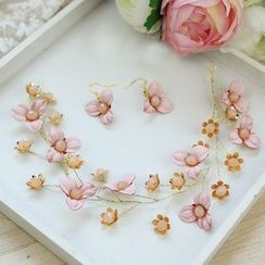 constello - Bridal Set: Flower Headband + Earrings