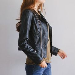 JUSTONE - Diagonal-Zip Faux-Leather Jacket