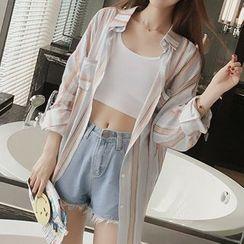 Fashion Street - Pinstripe Long-Sleeve Blouse