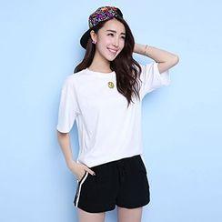 Ashlee - Set: Print Short-Sleeve T-Shirt + Stripe Sweat Shorts