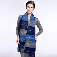 RGLT Scarves - Wool Fringed Plaid Scarf