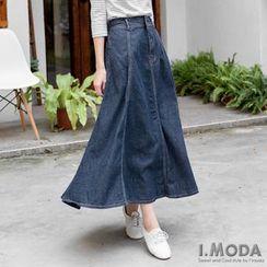 OrangeBear - Metal Button Denim Long Skirt