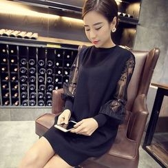 QZ Lady - Long-Sleeve Lace Panel Knit Dress