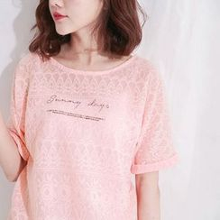 Tokyo Fashion - Sheer Lace Lettering Short-Sleeve Top