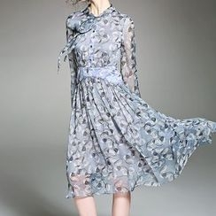 Alaroo - Print Tie-Neck Long-Sleeve Silk Dress