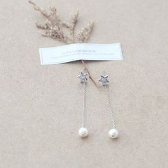 Love Generation - Star Freshwater Pearl Drop Earrings