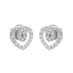 Keleo - 18K White Gold Heart Shape Earrings with Diamonds