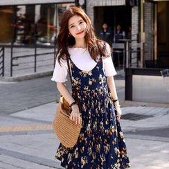 DEEPNY - Spaghetti-Strap Floral Print Midi Dress