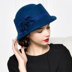 BADA - 網紗花朵毛呢毛氈帽