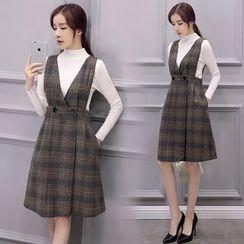 EFO - Set: Long-Sleeve Mock-Neck Knit Top + Plaid Jumper Dress