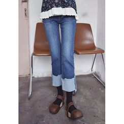 GOROKE - Cuff-Hem Washed Straight-Cut Jeans