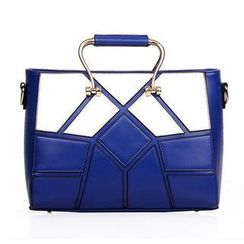 LineShow - Faux-Leather Panel Shoulder Bag