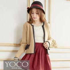 Tokyo Fashion - Contrast-Trim Bow-Accent Knit Jacket