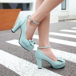 Pastel Pairs - Bow Ankle Strap Pumps