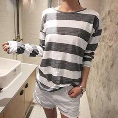 NANING9 - Long-Sleeve Striped T-Shirt