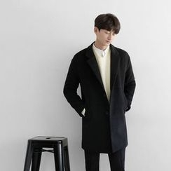 Seoul Homme - Single-Breasted Pocket-Detail Coat