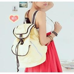 Love Bags - Contrast Trim Canvas Backpack