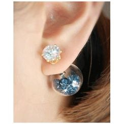 Miss21 Korea - Rhinestone Glass-Ball Stud Earrings