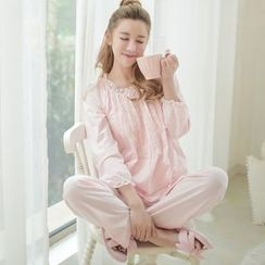 Snorie - Lounge Wear Set: Long-Sleeve Lace Trim Top + Pants