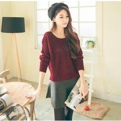 Hanako Shiratori - Set: Open-Knit Sweater + A-Line Skirt