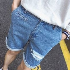 JUN.LEE - Ripped Denim Shorts