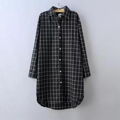 JVL - 格子印花寬鬆顯瘦中長款襯衣襯衫