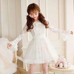 Candy Rain - Lace Panel Long Sleeve Dress
