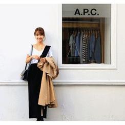ssongbyssong - Wrap-Front Suspender Skirt