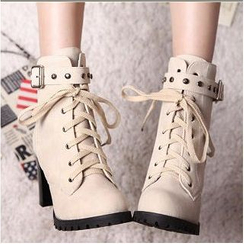 Colorful Shoes - Studded Buckled Lace-Up Boots