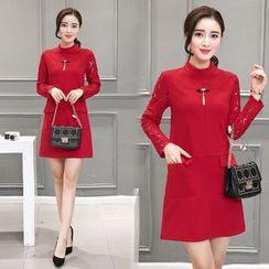 Sienne - Laced Long Sleeve A-Line Dress
