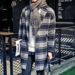 Bay Go Mall - Plaid Wool Blend Coat