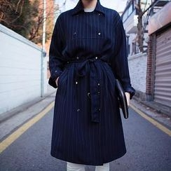 chuu - Double-Breasted Pinstriped Trench Coat