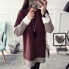 Qimi - 長袖插色針織連衣裙