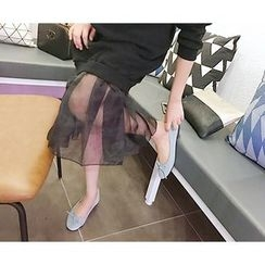 MARSHMALLOW - Mesh-Hem Shift Dress