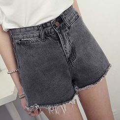 Honey House - Frayed Hem Denim Shorts