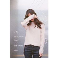 CHERRYKOKO - Drop-Shoulder Slit-Side Knit Top