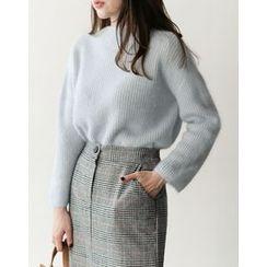 UPTOWNHOLIC - Mock-Neck Wool Blend Knit Top