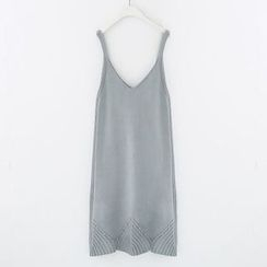 Meimei - Beaded Spaghetti Strap Knit Dress