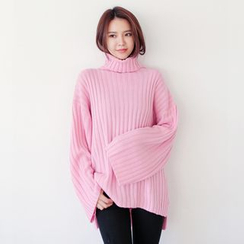 WITH IPUN - Turtleneck Rib-Knit Sweater