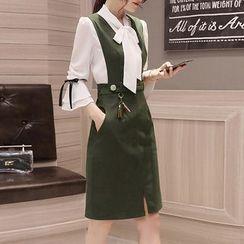 SEYLOS - 套装: 领结带衬衫 + V领背带裙